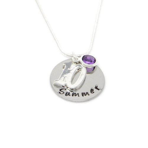Personalised 10th Birthday Birthstone Necklace - Gift Boxed & Free Delivery UK